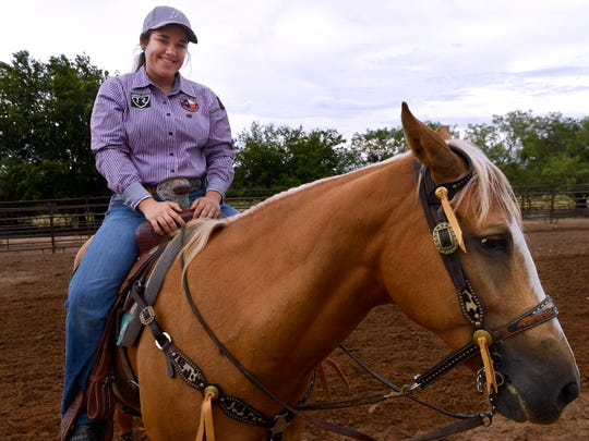 Catherine Clayton at her family's ranch outside of Dublin Monday July 9, 2018. She will travel to Rock Springs, Wyoming for the July 15 National High School Finals Rodeo to compete in goat tying.
