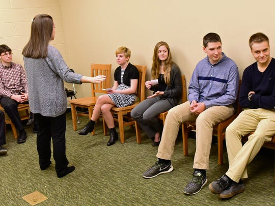 Students wait to be interviewed Friday, Jan. 8, 2016 at James Buchanan High School. The students participated in mock interviews to prepare them for the real thing.
