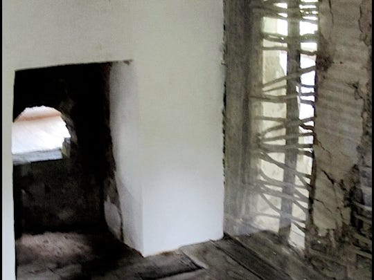 Main Floor Fireplace in Mid-18th Century Germanic Log House on the grounds of the Historic Hellam Preserve (S. H. Smith, 2015)