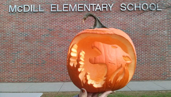 Pumpkin carving from McDill Elementary School, winner of Portage County Business Council's inaugural pumpkin carving contest.
