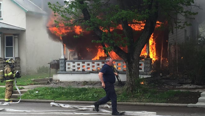 An arsonist set this fire about 12:45 p.m. April 28 in the 600 block of Wabash Avenue. Authorities ask anyone who might have seen something to call them.