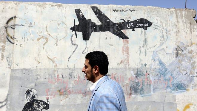 Grafitti in Sanaa, Yemen, on Oct. 17, 2017.