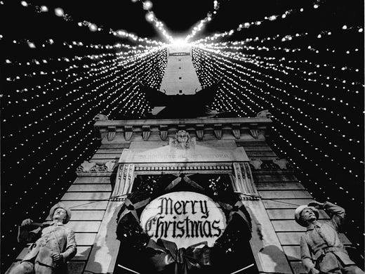 8daab6c34e1c54 The Soldiers and Sailors Monument on Monument Circle is shown decorated for Christmas  season in this