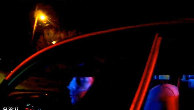 A screenshot of Evansville Police Department body camera footage during a traffic stop that led to an EPD officer fatally shooting 58-year-old Douglas Kemp.