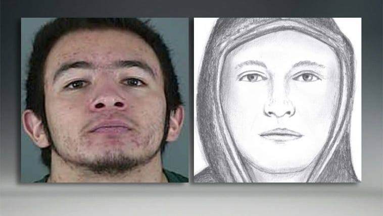 Jaime Tinoco, left, and the sketch of the suspect in