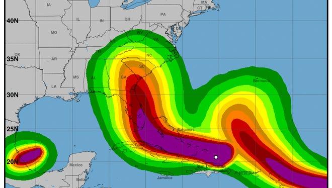 The National Hurricane Center's 5 p.m. advisory issued on Thursday, Sept. 7.