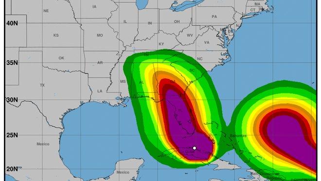 Hurricane Irma's latest track