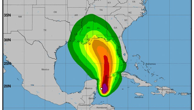 The latest wind speed probabilities map for Subtropical Storm Alberto.