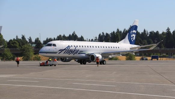 A SkyWest Embraer E175 operating for Alaska Airlines