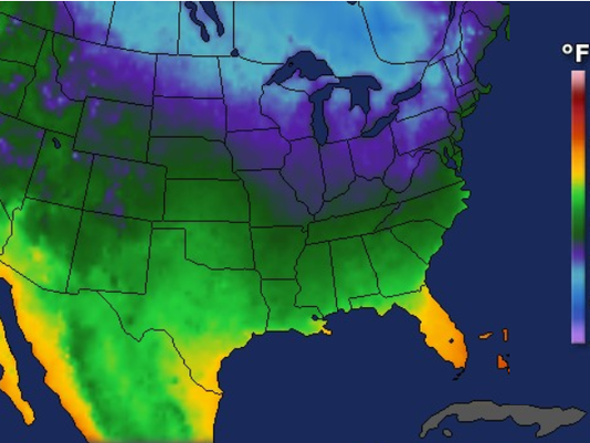 Low temperature map for Saturday
