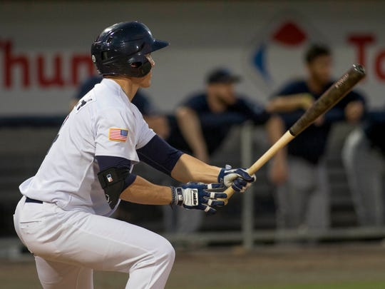 Jeff Gelalich (14) watches his game winning walk-off hit in the bottom of the 7th inning during the Mobile BayBears vs. Blue Wahoos baseball game one of a double header at Blue Wahoos Stadium in Pensacola, FL on Thursday, June 16, 2016.