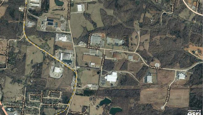 Aerial view of screenshot of section of Dickson County Industrial Park.