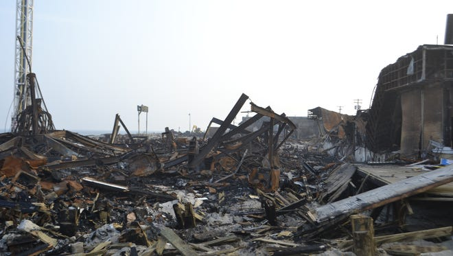 All that remains of the south end of the Seaside Heights boardwalk after the Sept. 12, 2013, fire that damaged 69 business.