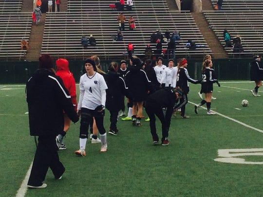 Wichita Falls High School celebrates its 5-0 win on