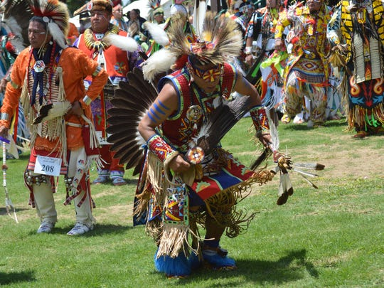 "Chaske LeBlanc, a member of the Dakota Lower Sioux from Minnesota, dances in the Grand Entry procession of Native American dancers at the 19th Annual Tunica-Biloxi Pow Wow held Saturday, May 17, 2014 at the Chief Joseph ""Alcide"" Pierite Pow Wow Grounds in Marksville."