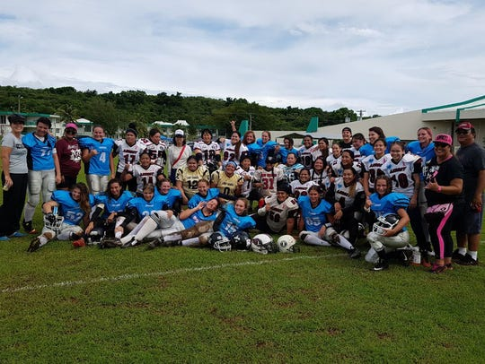 The visiting Cobras, a women's American Football team