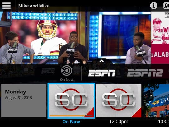 The Sling TV service shown on an Amazon Kindle Fire