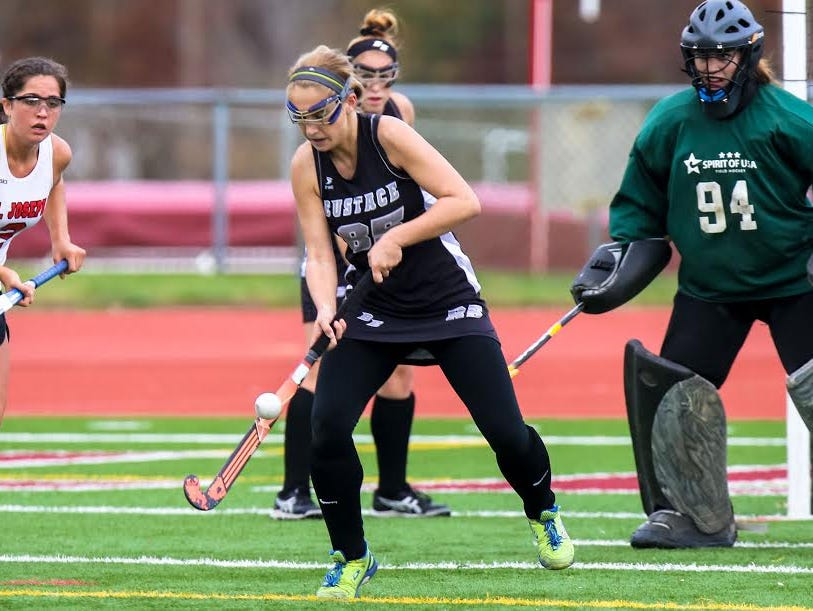 Bishop Eustace's Amanda Manuola (85) knocks the ball down against St. Joseph during the Non-Public South title game at Bridgeton on Wednesday.