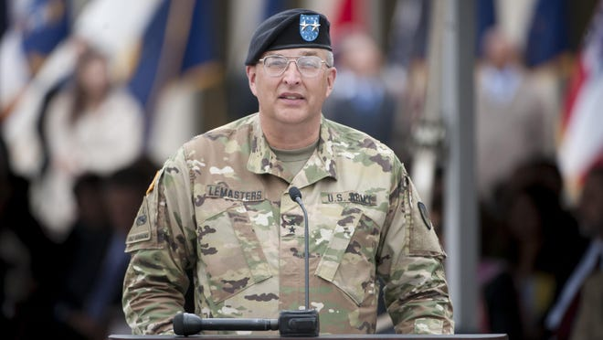 Major General Clark LeMasters Jr. gives a speech during the event. Photos are of a formal change of command ceremony at the TACOM Detroit Arsenal in Warren, Michigan,, May 2, 2016. (David Guralnick / Detroit News)