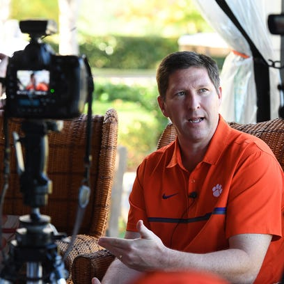 Clemson head coach Brad Brownell talks to the media during the annual Clemson basketball media day on Wednesday, November 19, 2017.