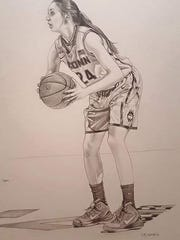 Former UConn player Cassie Kerns gave her drawings