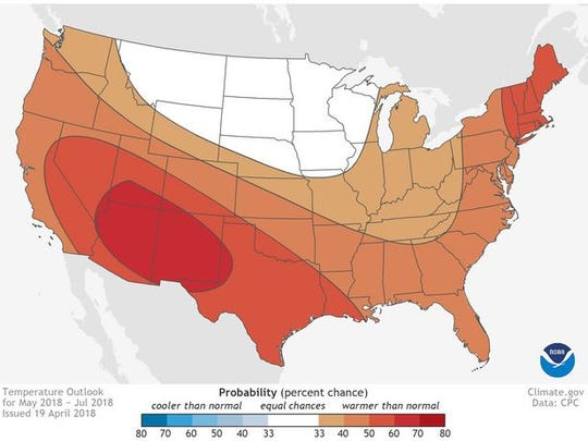 May-July 2018 temperature outlook for the Contiguous United States.