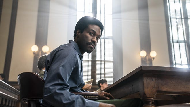 """Yahya Abdul-Mateen II as Bobby Seale in """"The Trial of the Chicago 7."""""""