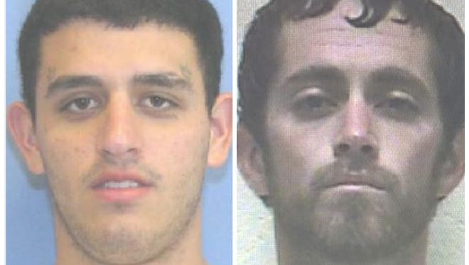 William Jason Stockstill, left, is still being sought by police. Colton James Delaughter has been apprehended.