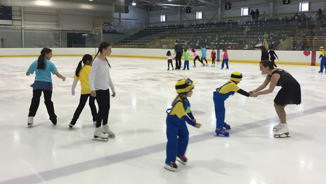 Students skate in the finalé of the Binghamton Figure Skating Club's Learn-to-Skate Program Spring Exibition on March 22 at the SUNY Broome Ice Center.