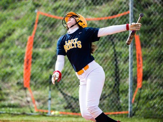 Littlestown's Amanda Dyson keeps her eye on the ball after hitting against Biglerville on Friday April 8, 2016 at Biglerville High School.