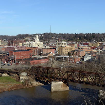 A view of downtown Zanesville as seen from the Y-Bridge Overlook.