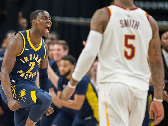 Jan 12, 2018; Indianapolis, IN, USA; Indiana Pacers guard Darren Collison (2) celebrates the win against the Cleveland Cavaliers at Bankers Life Fieldhouse. Mandatory Credit: Trevor Ruszkowski-USA TODAY Sports