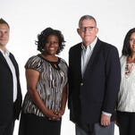 The News-Press editorial board citizen members, from left: Greg Scasny, Estero; Shannon Graham, Fort Myers; Terry Rice, Fort Myers; and Carmen Rey-Gómez, Cape Coral