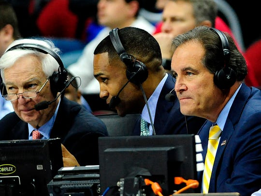 CBS announcers, from left, Bill Raftery, Grant Hill
