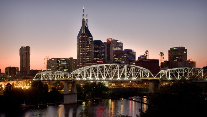 The skyline of downtown Nashville.  The city grew 1.5% last year and 5.1% since 2010.
