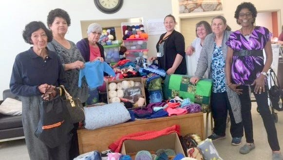 """HMS-CYFD """"Crochet for Kids"""" project volunteers, from left, are Maura Rico, Teresa Bravo, June Diaz, Ashley Crotts, Leslie Tomerlin, Lynn Hendley, and Lucia McKeag."""