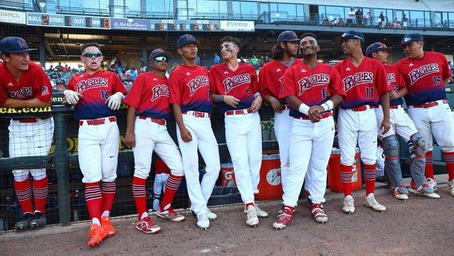Veterans Memorial players wait for lineups on Thursday, June 7, 2018.
