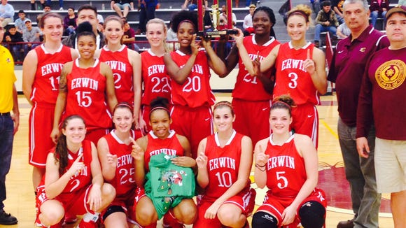 The Erwin girls basketball team won the Holidays on