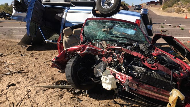 An image taken from the crash site on Pima Road at Black Mountain Road in Scottsdale on November 22, 2017. Two people suffered life-threatening injuries in the wreck, and a total of six were hurt, police said.