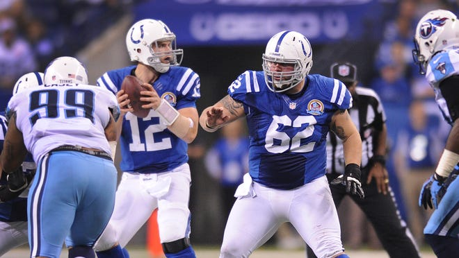 Indianapolis Colts Center A.Q. Shipley,#62, stepped in for the injured Samson Satele, in the second half of their game Sunday, December 9, 2012, afternoon at Lucas Oil Stadium. The Colts defeated the Titans 27-23. Matt Kryger / The Star