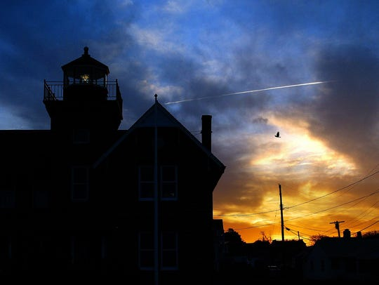 The light at the Sea Girt Lighthouse begins to shine