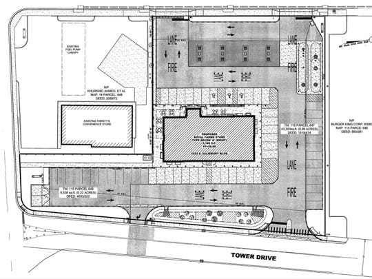 The plans for a new Royal Farms on South Salisbury Boulevard on the location of the former Plaza Tapatia restaurant and water tower.