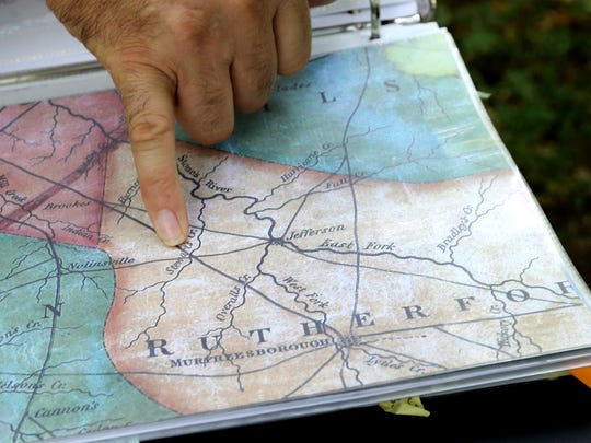 Pat Cummins shows the Trail of Tears routes that ran through Rutherford County.