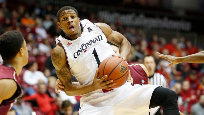 The University of Cincinnati's Deshaun Morman drives to the hoop against Fairmont State in a game Nov. 8.
