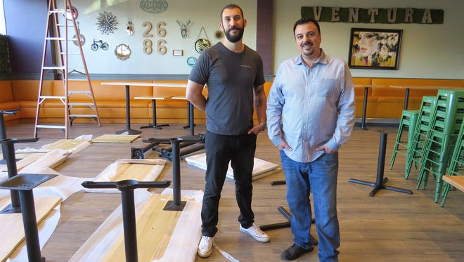 Cousins Jorge Alem, left, and Joby Yobe pose in the work-in-progress dining room of their newest restaurant, The 2686 Kitchen in midtown Ventura. The site was formerly occupied by the Ventura Spaghetti Co.