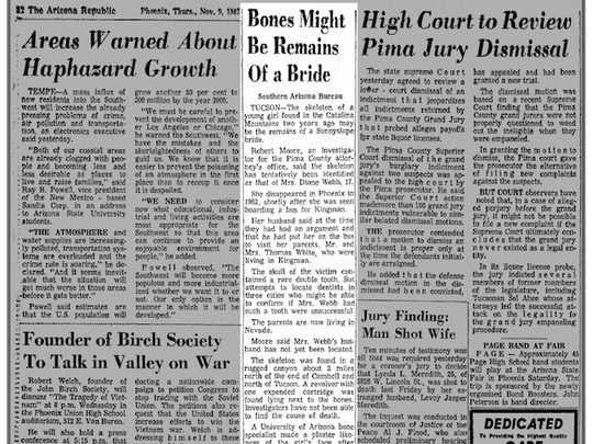 The Arizona Republic published an article on Nov. 9, 1967 about the remains of a young girl found in the Catalina Mountains in southern Arizona that was tentatively identified as Diane Marie Webb, 17.