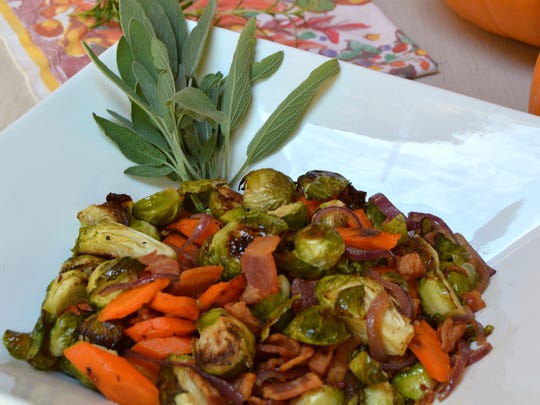 Carrots, parsnips and brussels sprouts are roasted