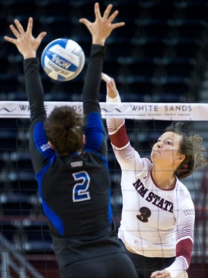 NMSU's Jordan Abalos and the Aggies open the 2017 season at the Notre Dame Tournament Aug. 25-26..