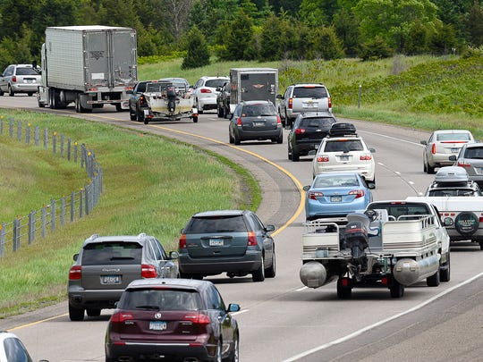 Cars, boats, campers and trucks were moving slowly on Interstate 94 heading toward the Twin Cities Monday, May 29, between Clearwater and Hasty.
