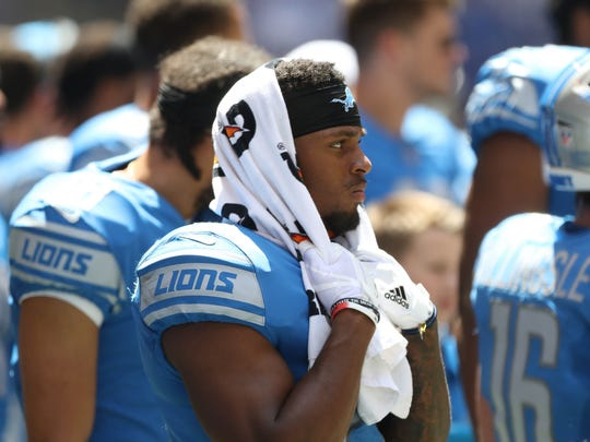 Ameer Abdullah on the sideline during the first quarter of the Lions' 24-10 exhibition win over the Colts on Aug. 13, 2017 in Indianapolis.